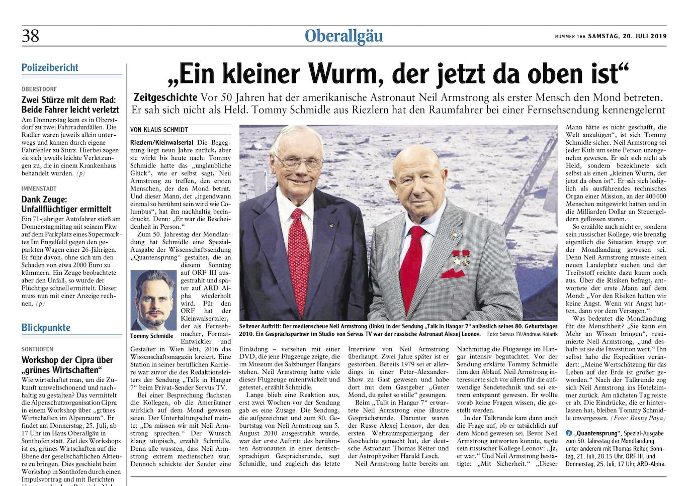 Artikel aus der Oberallgäu Zeitung zu 50 Jahre Mondlandung