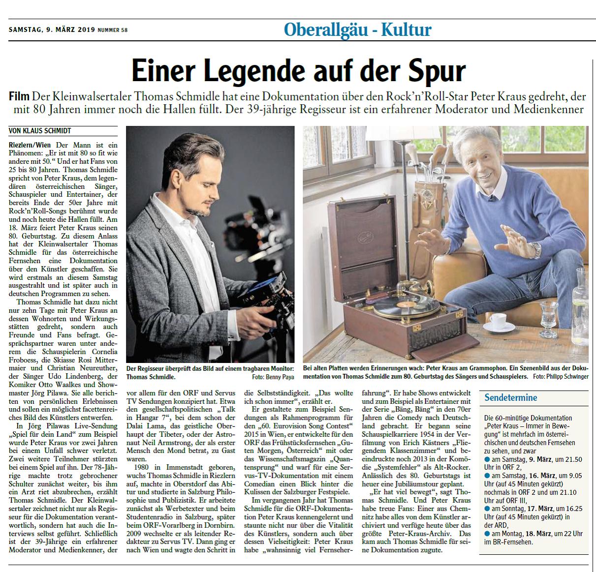 Artikel: Oberallgäu Kultur, über die Dokumentation Peter Kraus - Einer Legende auf der Spur