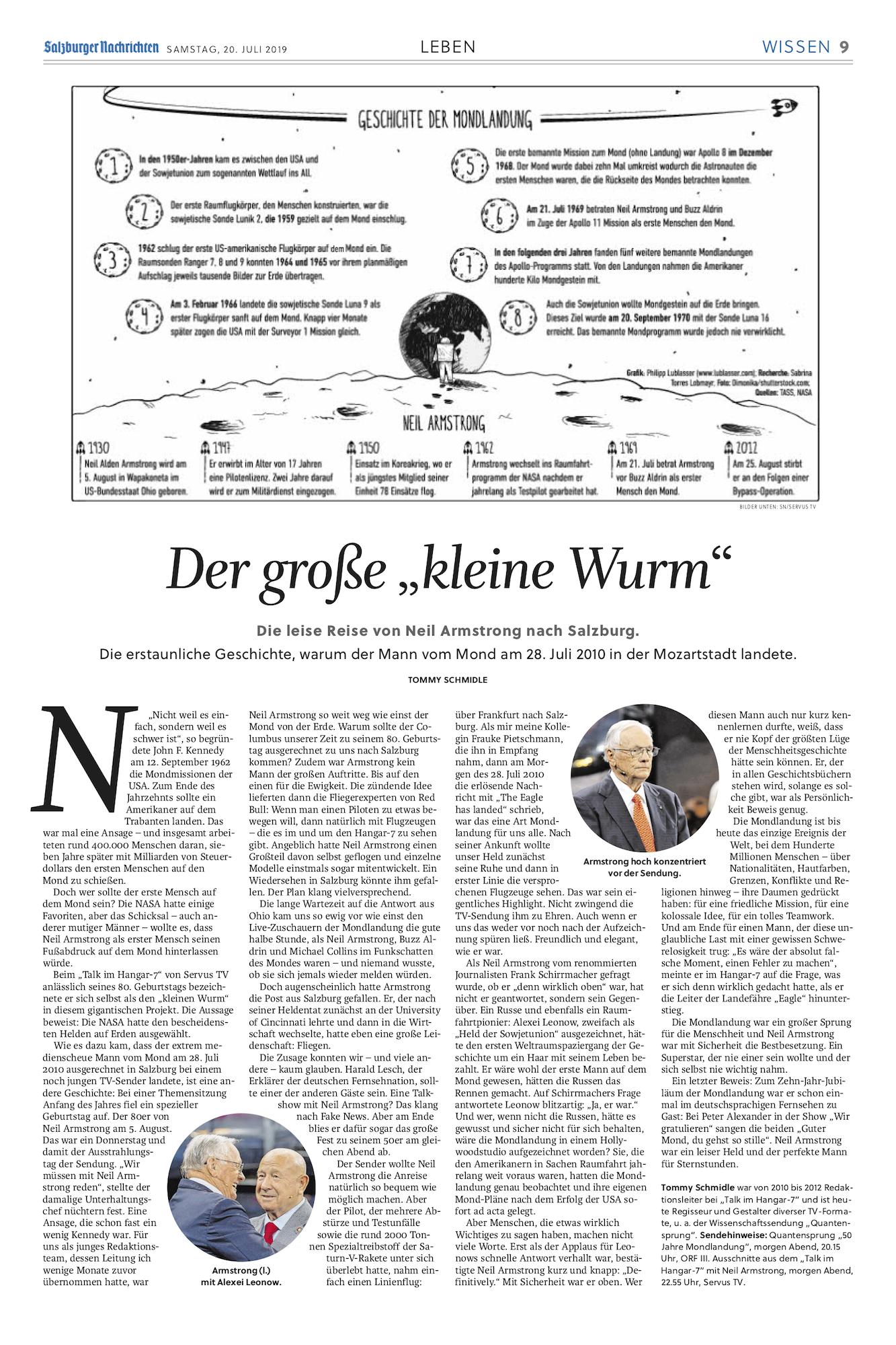 Artikel aus den Salzburger Nachrichten zu 50 Jahre Mondlandung